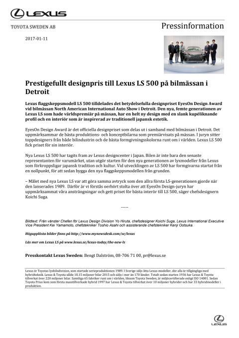 Prestigefullt designpris till Lexus LS 500 på bilmässan i Detroit