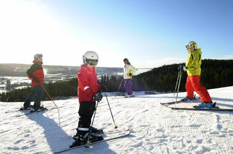 Hele familien på ski. Foto: Göran Assner