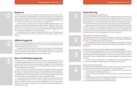 Byggmaterialindustriernas position paper om energieffektivsiering