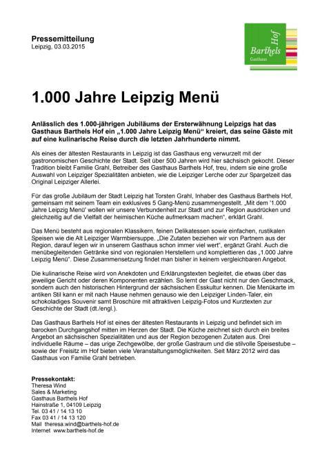 """Barthels Hof - """"1.000 Jahre Leipzig Menü"""""""
