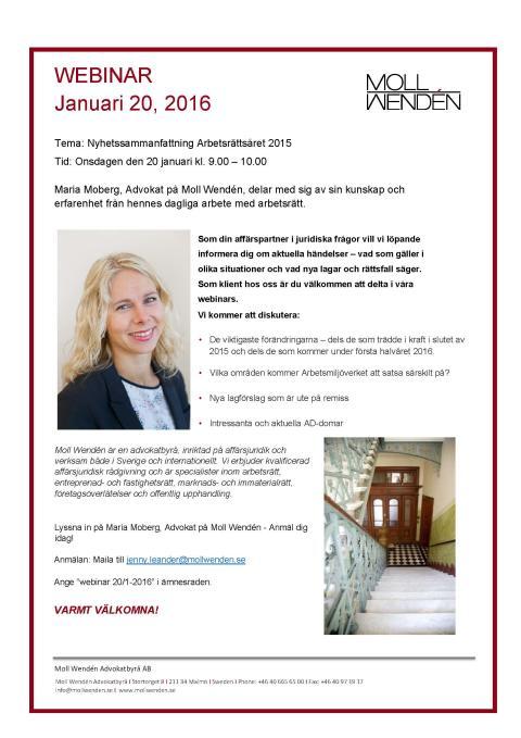 Välkomna till vårt nästa Webinar den 20 januari med temat: Nyhetssammanfattning Arbetsrättsåret 2015