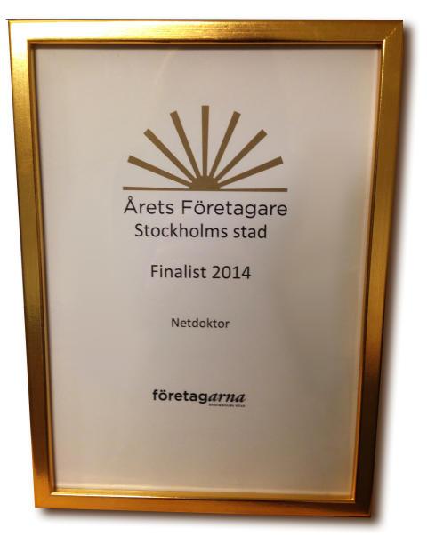 Netdoktor finalist i Årets Företagare Stockholm 2014