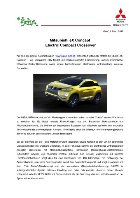 Mitsubishi eX Concept  Electric Compact Crossover