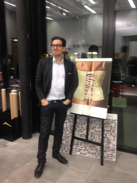 OPEN's David Gray stands beside the Iggesund calendar during the Black Box event in #Stockholm #bbstklm