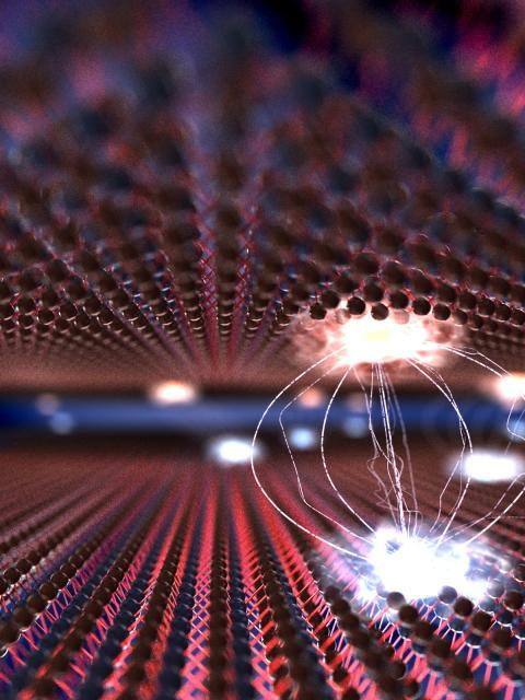 Illustration av heterostrukturmaterial med interlager-excitoner