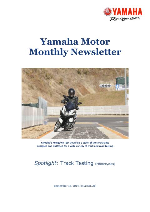 Yamaha Motor Monthly Newsletter No.21 (Sep.2014) Track Testing