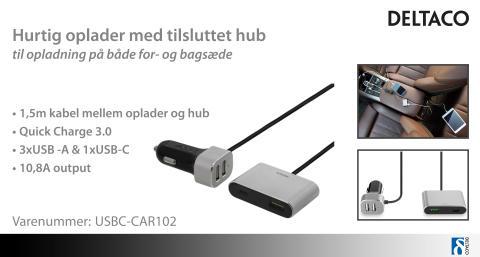 Hurtig USB-C oplader med tilsluttet hub til 2 enheder