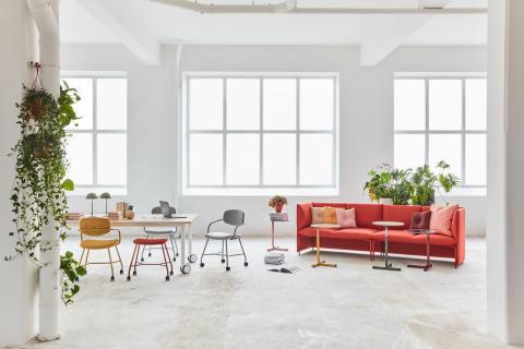 MATERIA_Alto sofa_Hopper table_Motus chair, stool, Vagabond Project table_Interior 1