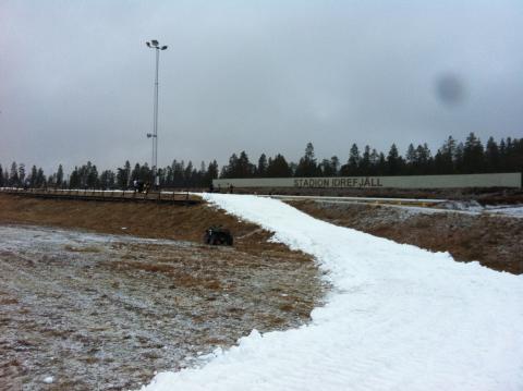 Snö på Idre Fjälls skidstadion