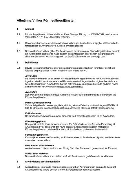 Allmänna Villkor Förmedlingstjänsten Strålfors - 2019-05-08