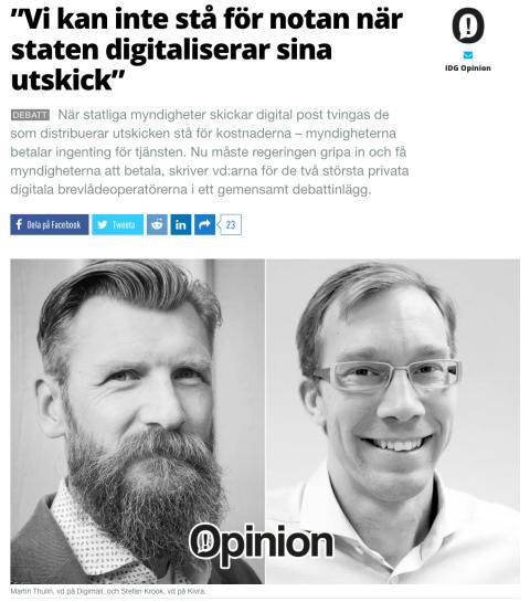 Digimails och Kivras vd:ar uppmanar regeringen till handling i gemensamt debattinlägg