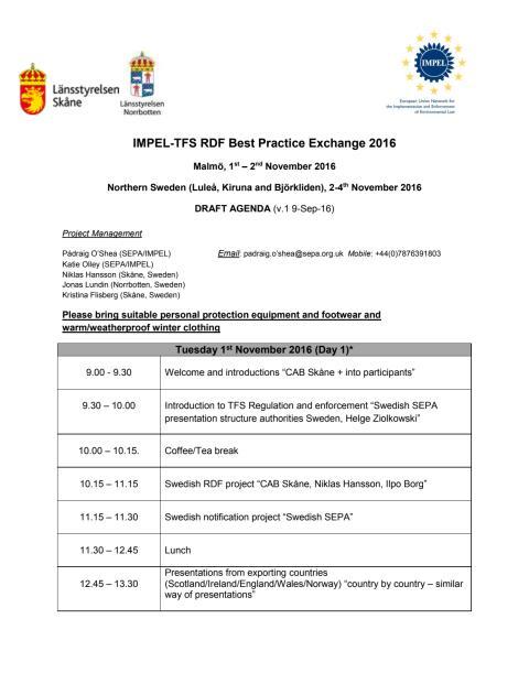 Agenda för internationell miljökonferens om gränsöverskridande avfall