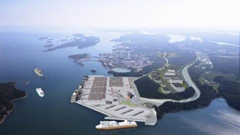 Ramirent levererar maskiner och tjänster till bygget av den nya kajen i Nynäshamn utanför Stockholm
