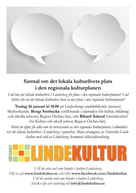 Inbjudan till samtal om regionala kulturplanen och kulturlivet i Lindesberg (pdf)