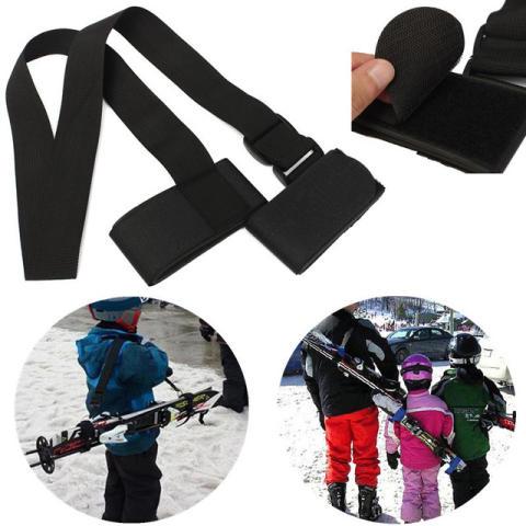 Bärremen underlättar bärandet av skidor för såväl barn som vuxna