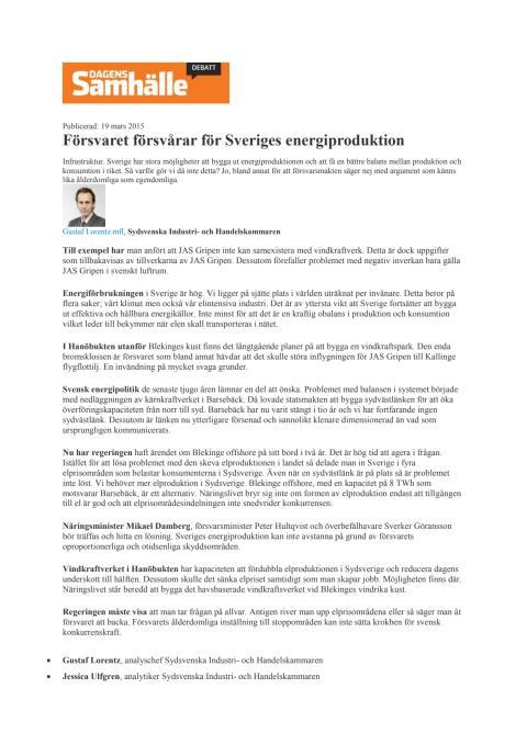 Försvaret försvårar för Sveriges energiproduktion
