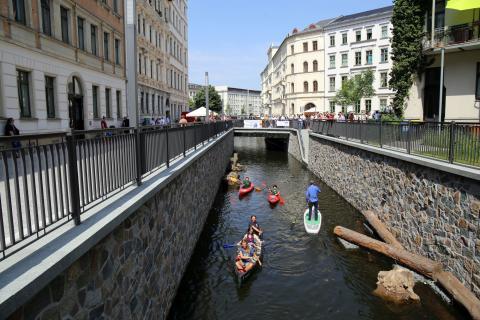 Elstermühlgraben: Eröffnung des vorletzten Abschnitts an der Thomasiusstraße