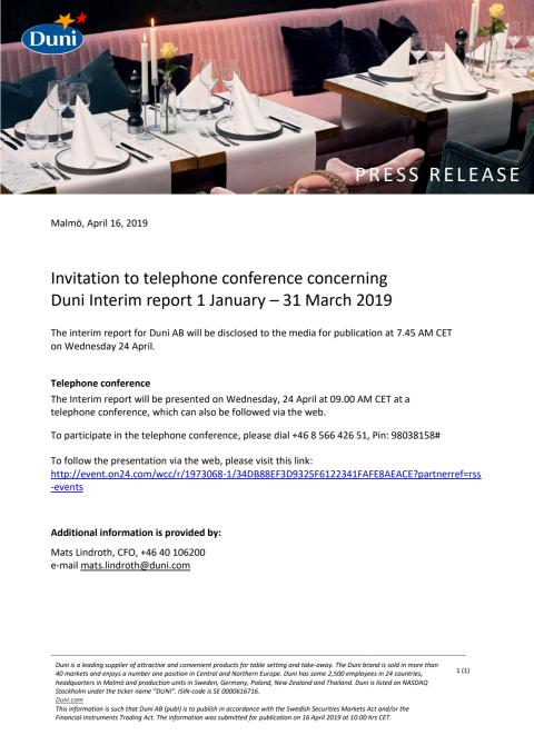 Invitation to telephone conference concerning  Duni Interim report 1 January – 31 March 2019