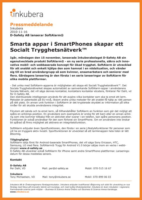D-Safety AB lanserar SoftAlarm®