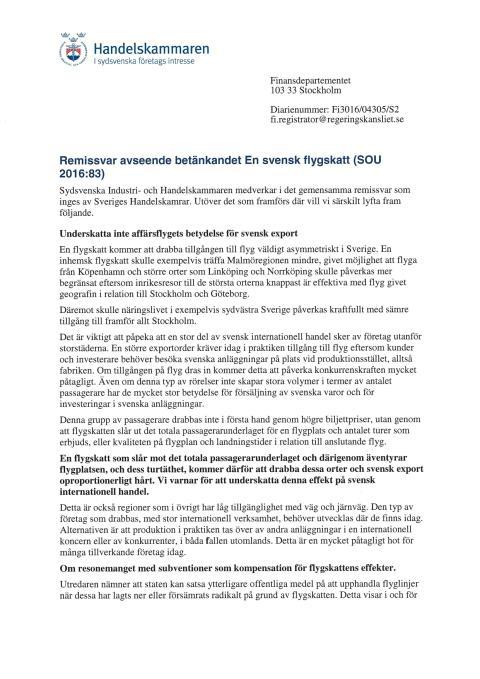Remissvar SOU 2016:83 En svensk flygskatt