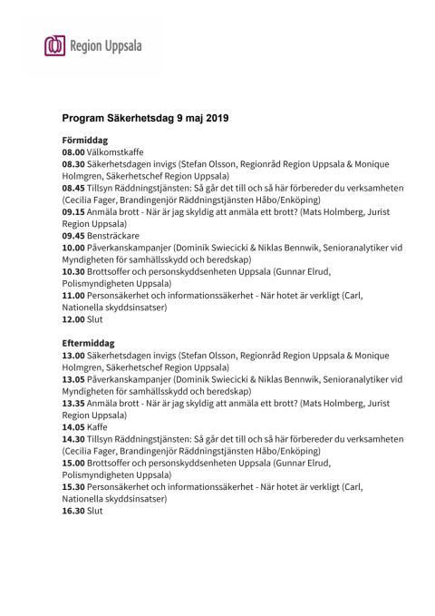 Program Säkerhetsdag 9 maj 2019