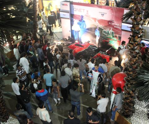 The huge crowd that turned up to view the Show Car in Chennai