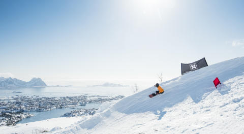 Helene Olafsen var raskest i Lofoten. Foto: Daniel Tengs / Snowboardforbundet