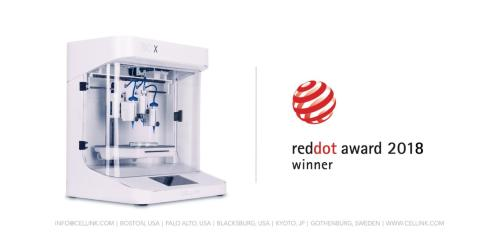"CELLINK vinner prestigefyllda ""Red Dot Award"" för sin 3D-bioprinter BIO X"