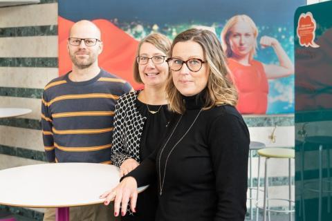 Tre av forskarna som ingår i forskargruppen, Jens Nygren, Ingrid Larsson och Petra Svedberg.