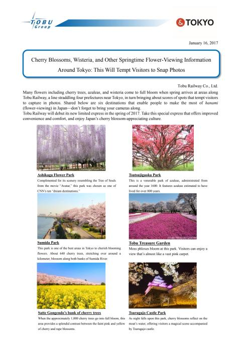 [ENGLISH] Cherry Blossoms, Wisteria, and Other Springtime Flower-Viewing Information