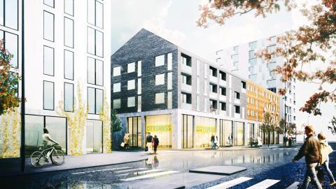 Illustration över Bergendahls kvarter i Hyllie där City Gross ska etableras.