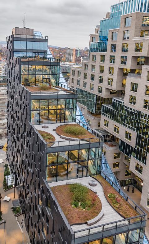 Grønne tak med løs Leca brukes bl.a. på dette bygget i Bjørvika