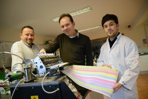 L-R: Multichem managing director Michael Nelson, Professor Justin Perry of Northumbria University and Multichem product development manager Dr Tom Winstanley.