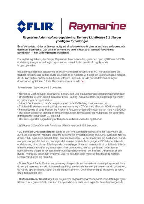 Raymarine Axiom-softwareopdatering: Den nye LightHouse 3.2 tilbyder yderligere forbedringer