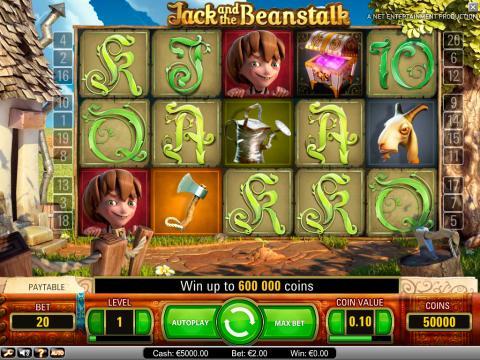 Jack and the Beanstalk video slot at Vera&John online casino