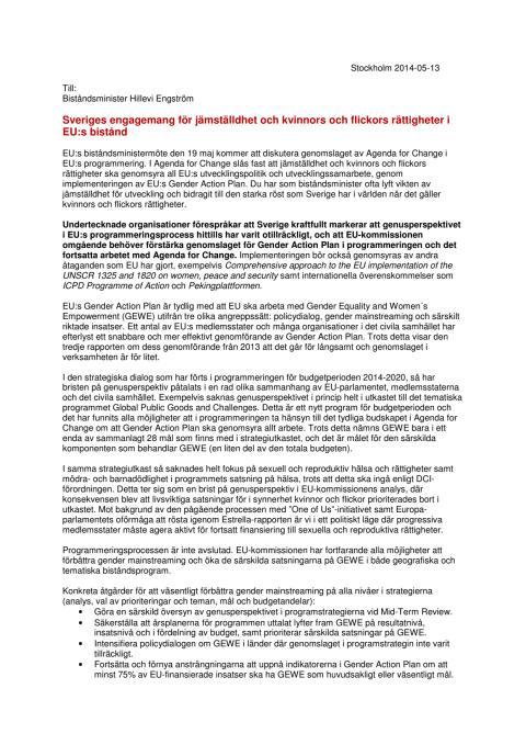 Brev till biståndsminister Hillevi Engström inför FAC - från Jämställdhetsarbetsgruppen