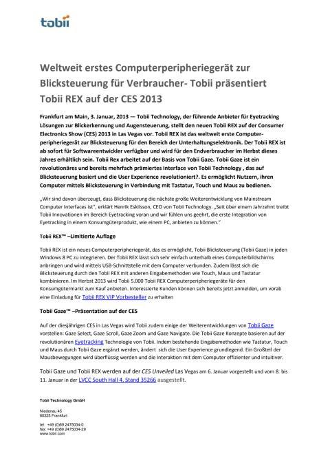 Weltweit erstes Computerperipheriegerät zur Blicksteuerung für Verbraucher- Tobii präsentiert Tobii REX auf der CES 2013