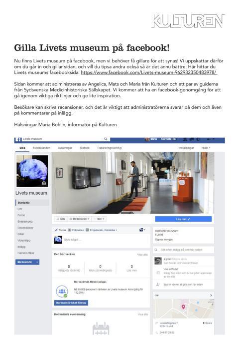 Gilla livets museum på facebook!