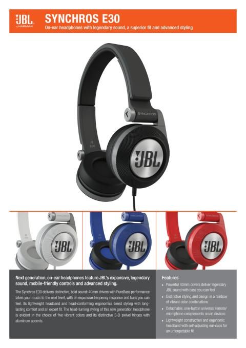 Produktspecifikation JBL E30