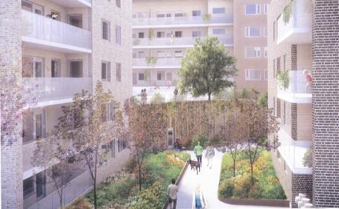 Vy mot innergården från Husarvikstorget