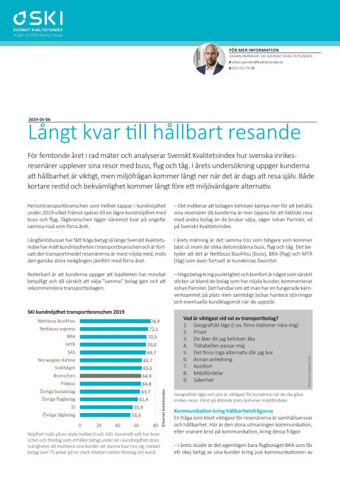 Svenskt Kvalitetsindex Persontransport 2019
