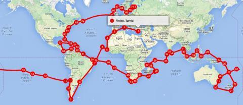 Reittisuunnitelma maailman ympäri 2016-2022