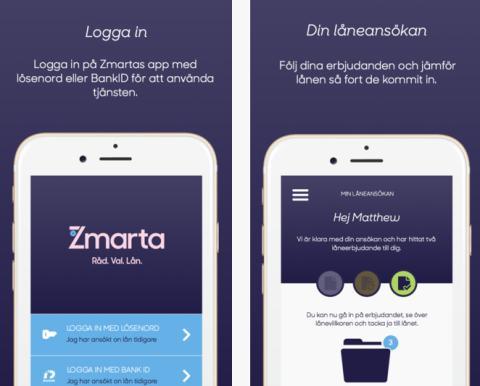 Zmarta lanserar Sveriges första app för smidigare låneansökan