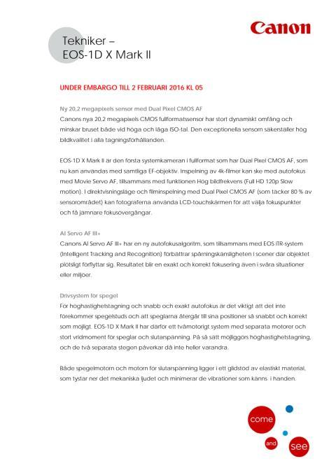 Canon Teknisk förklaring EOS-1D X Mark II