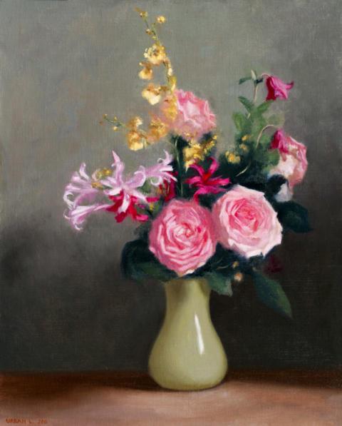 Blommor i vas, olja på duk, Urban Larsson.