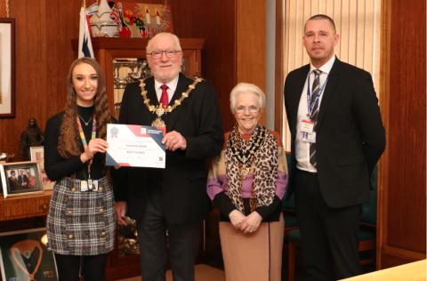 Mayor of Bury recognises achievement of apprentice