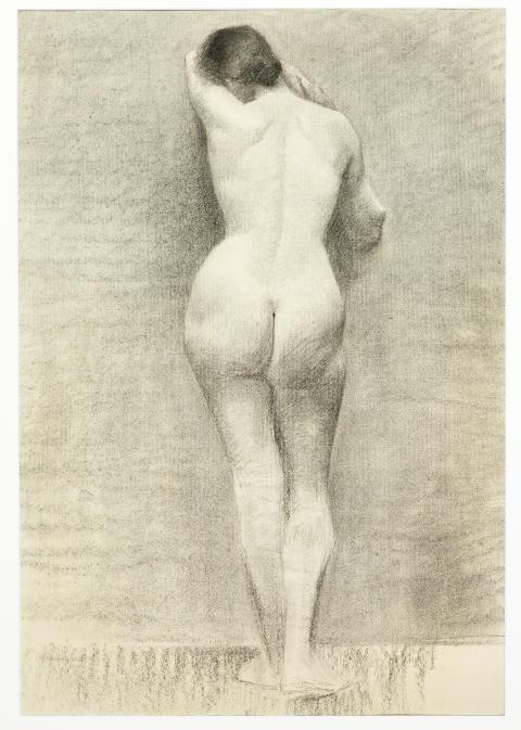 Marie Krøyer: Rygvendt kvindelig model.