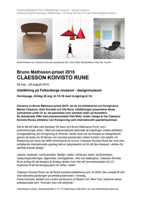 Pressmeddelande Claesson Koivisto Rune