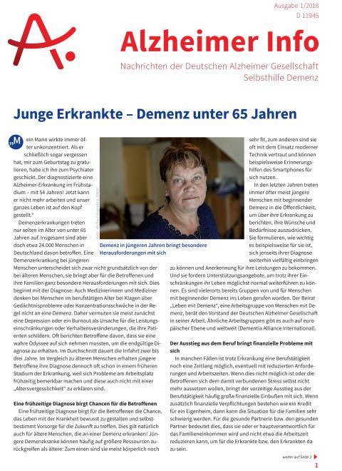 """Alzheimer Info 1/2018 zum Thema """"Junge Demenzkranke"""" erschienen"""