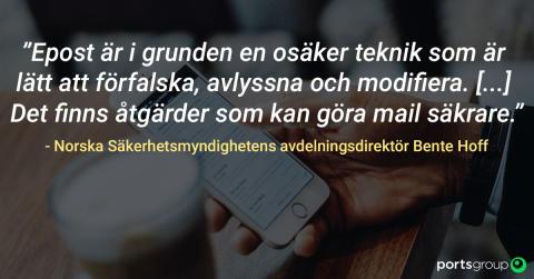 Norska Säkerhetsmyndigheten går ut med uppmaning om att implementera skydd mot epostbedrägerier